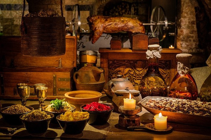 Medieval picnic feast