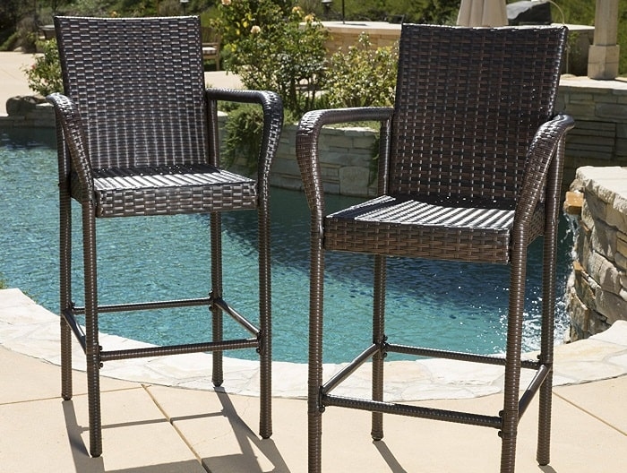 Outdoor bar stool made of wicker