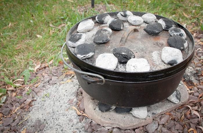 Dutch Oven with Top Coals