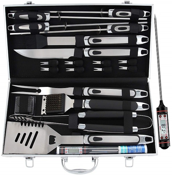 BBQ grill accessories tool set with thermometer