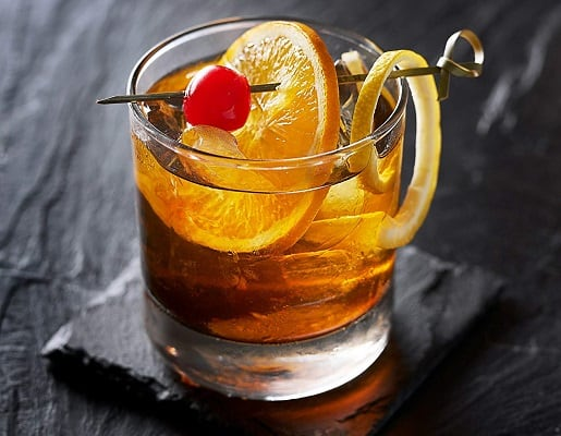 Double rocks glass old fashioned cocktail