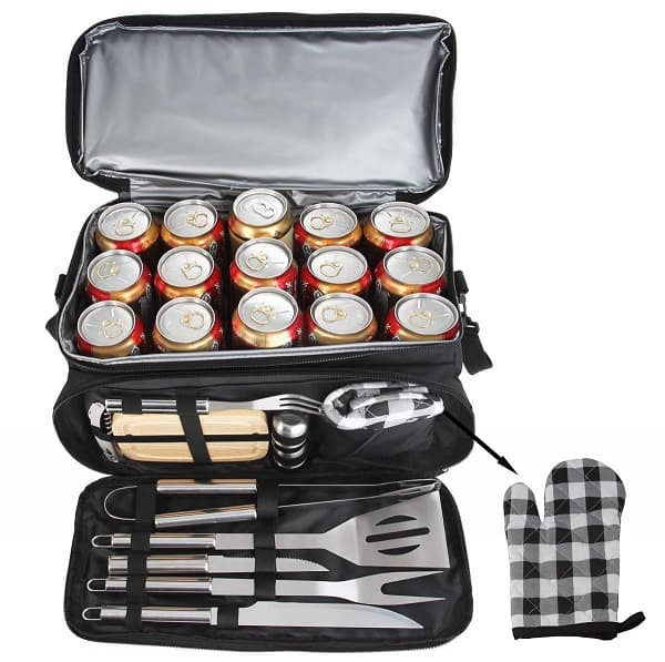 Grill tools set with insulated cooler