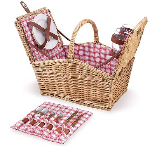 Picnic Time Piccadilly Willow Basket for Two