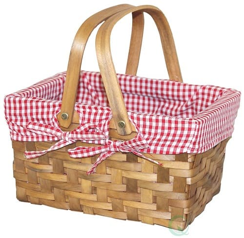 Vintiquewise Gingham Lined Picnic Basket